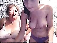 Big-chested Teenager & Grandma On Webcam