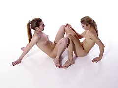 Shaved and unshaved sisters Svetik and Rita