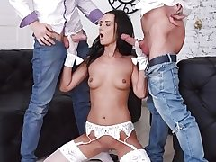 Tantalizing Brunette Angie Moon Has All Three Fuck holes Used by Two Horny Fellows
