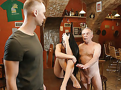 DADDY4K. Old dad lures beautiful black-haired while son left..