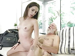 Wonderful nubile hardcore fucked by senior man and blows a load in hatch