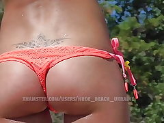 Hot slim Ukraine babe. Beach voyeur