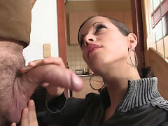 Petite nymph sucks and rides his brother's hard-on