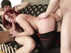 Sandy-haired mature has double pounding w dildo