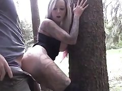 Long haired light-haired having fuckfest with her boyfriend in the forest